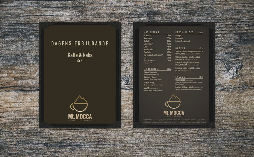 Mt.Mocca Trysil menydesign